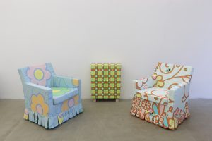 lily van der stokker, red yellow closet with armchairs, 2012 mixed media, installation size: 287 x 80 x 115 cm