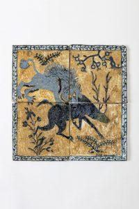 magdalena suarez frimkess, untitled, 2016 4 ceramic tiles, glaze, 30 × 30 cm