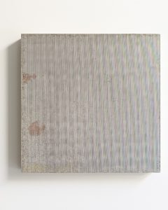 pae white, textile, 2011 clay and ink on wood, 45 x 45 cm