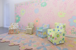 lily van der stokker, room pink decoration with 4 armchairs, 2012 mixed media, installation size: 685 x 295 x 255 cm