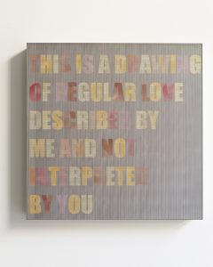 pae white, challenged text, 2011 clay and ink on wood, 45 x 45 cm