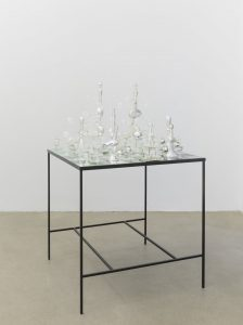 pae white, yield event, 2014 steel, glass 35 glass chess pieces, 81 x 81 cm (table)