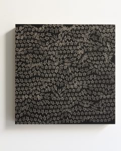 pae white, chalky stars, 2011 clay and ink on wood, 45 x 45 cm