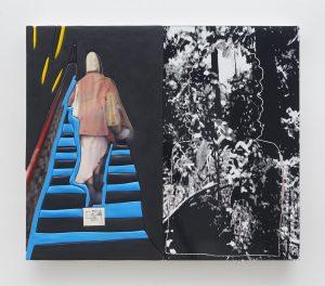 sadie benning, double exposure, 2016 medite, aqua resin, casein and acrylic, 86.5 × 102 cm 34 x 40 inches
