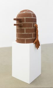judith hopf, personification of a problem, 2016 bricks, cement, red clay, 64 × 43 × 44,5 cm