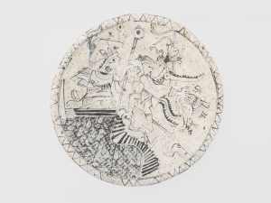 untitled, 1981 ceramic, glaze 2.5 × 16.25 × 16.5 inches