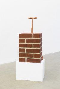 judith hopf, brick-trolley, 2016 bricks, cement, red clay, 79 × 38.5 × 24.5 cm