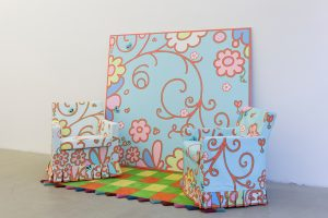 lily van der stokker, subway with 2 chairs, 2012 mixed media, installation size: 300 x 125 x 167 cm