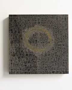 pae white, messy halo, 2011 clay and ink on wood, 45 x 45 cm