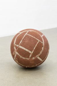 judith hopf, ball in remembrance of annette wehrmann, , 2016 bricks, cement, red clay, 37 cm diameter