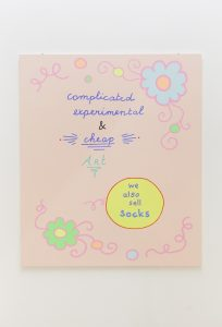 lily van der stokker, complicated cheap and socks, 2012 acrylic on wood, 105 x 90 cm