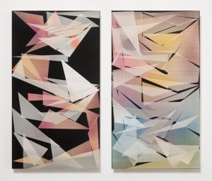 pae white, tissue diptych, 2014 carvings: clay and ink on wood, 81 x 45 cm (each)