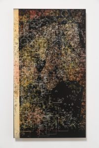 pae white, untitled, 2014 carving: clay and ink on wood 45 x 81 cm