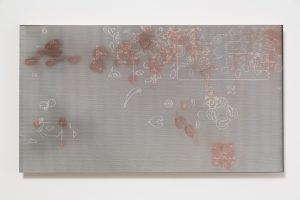 pae white, distribution study iv (interfered with), 2014 carving: clay and ink on wood, 81 x 45 cm