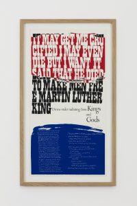 Corita Kent, <i>king's dream</i>, 1969 </br> screenprint, 66,5 x 38,5 x 3 cm / 26.2 x 15.2 x 1.2 in
