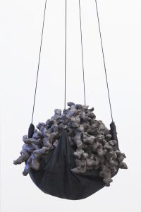 maggie cardelús, the making of us, 2012 clay, leather, cord, diam. 65 m, height 50 m