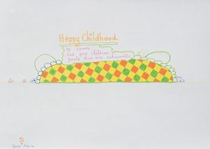 lily van der stokker, happy childhood, 2005 design for wall painting, colored pencil, marker on paper, 21 x 29.7 cm