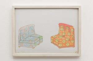 lily van der stokker, armchairs, 1997 framed drawing, 32 x 34 cm