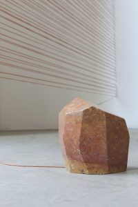 <i>tessitori di tramonti (weavers of sunsets)</i>, 2010</br>red iranian marble, synthetic thread</br> variable dimensions