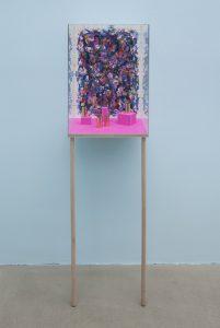 dianna molzan, untitled, 2015 watercolor and gouache on paper, gold leaf, uv plexiglass, maple, 161.3 x 46.7 x 37.9 cm