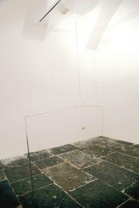 <i>rilevatore di coppie</i>, 2008</br>aluminium, brass, nylon string, terracotta, yellow soy