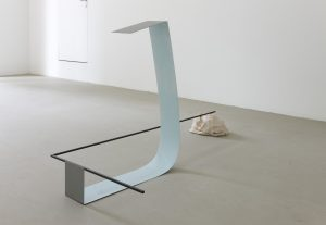 <i>historical mood</i>, 2010</br> painted steel and ceramic</br>91 x 170 x 89 cm