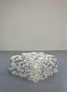 <i>sugar no sugar molecule</i>, 2002</br>sugar canes, polysteryne, marble</br>80 x 80 x 45 cm / 31.5  x 31.5 x 17.7 in
