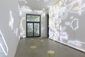 pae white, ...and then you know what?, 2014 lucky charms neon, transformers, electrical wire, site specific