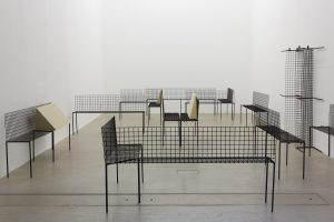 <i>untitled</i>, 2013</br> steel, foam (14 benches)</br>variable dimensions