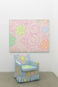 lily van der stokker, small pink decoration painting and gobelin armchair, 2012 mixed media, installation size: 165 x 219 x 116 cm