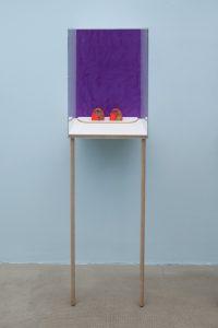 <i>untitled</i>, 2015</br> gouache and watercolour on paper, flashe, string, uv plexiglass, maple</br>161.3 x 46.7 x 37.9 cm