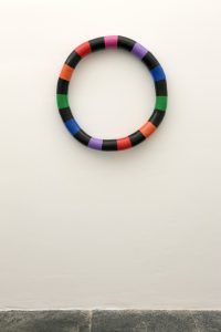 eva rothschild, rubbering, 2009 jesmonite, plaster bandage, foam, aluminum wire acrylic paint, varnish, 78 cm diam