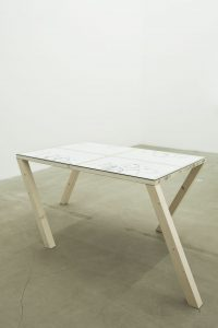 judith hopf, walking table 2, 2012 table, glass, four drawings, 192 x 90 x 73.5 cm (desktop:130 x 90 cm)