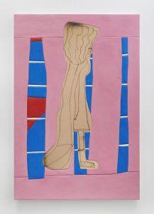 sadie benning, excuse me ma'am, 2016 medite, aqua resin, casein and acrylic, 185.8 × 126 cm 73 x 49.5 inches