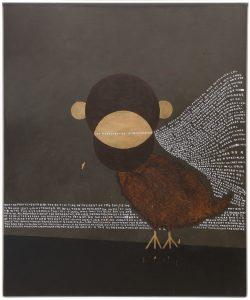 thomas zipp, a. b.: m - bird, 2013 oil and marker on canvas, 185 x 155 cm
