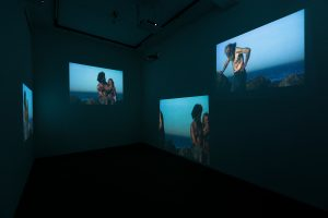 <i>hipnostasis</i> (in collaboration with raymond pettibon), 2009 </br> six-channel video installation</br>6'59''