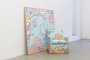 lily van der stokker, subway painting with chair, 2012 mixed media, installation size: 190 x 167 x 116 cm