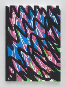 sadie benning, soundwaves, 2016 medite, aqua resin, casein and acrylic, 185.5 × 134.7 cm 73 x 53 inches