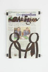Dan Perjovschi, <i>The Guardian (20.09.2012)</i>, 2012 </br> molotov marker on paper, 49,5 x 36,5 x 3,5 cm / 19.5 x 14.4 x 1.4 in (framed)