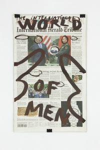 Dan Perjovschi, <i>International Herald Tribune (20.09.2012)</i>, 2012 </br> molotov marker on paper, 62,5 x 41,5 x 3,5cm / 24.6 x 16.4 x 1.4 in (framed)