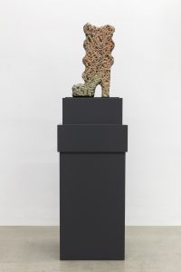Anthea Hamilton, <I>wavy carbon trap shino boot</I>, 2018  </br> glazed 'pizza body' clay  </br> 23,5 x 43 x 6 cm / 9.2 x 16.9 x 2.4 in