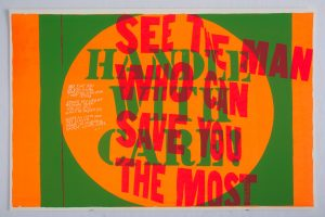 <I>handle with care</I>, 1967 </br> screenprint, 58,4 x 88,9 cm / 23 x 35 in