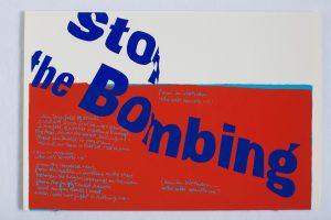 <I>stop the bombing</I>, 1967 </br> screenprint, 45,7 x 58,4 cm / 18 x 23 in