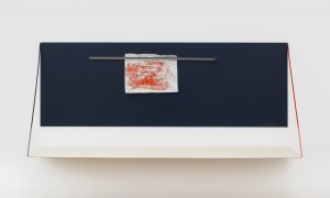 <i>untitled</I>, 2020 </br> steel, powder coated, paint on paper, 105 x 234 x 58 cm / 41.3 x 92.1 x 22.8 in