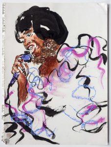 <i>Celia Cruz</i>, 1992 </br> pastel and ink on paper, 33 x 24,8 cm / 13 x 9.8 in