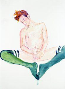 <i>John Green Socks 1</i>, 2010 </br> watercolor on paper, 76,2 x 55,9 cm / 30 x 22 in