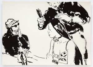 <i>naomi</i>, 1996 </br> brush and ink on paper, 25,4 x 35,6 cm / 10 x 14 in
