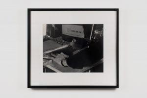 Bas Jan Ader </br> <I>Sawing</I>, 1971/2003 </br> silver gelatin print, 28,2 x 35,5 cm / 11 x 14 in