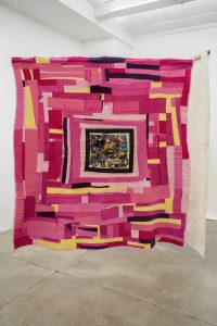 Gee's Bend Quiltmakers: Loretta Pettway Bennett </br> <I>Pink</I>, 2012-13 </br> cotton blend, corduroy, twill, 198 x 208 cm / 78 x 82 in