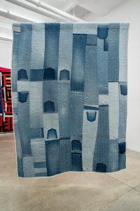 Gee's Bend Quiltmakers: Loretta Pettway Bennett </br> <I>Denim Strips</I>, 2004 </br> denim color, denim, 217,8 x 163,8 cm / 85 x 64 in